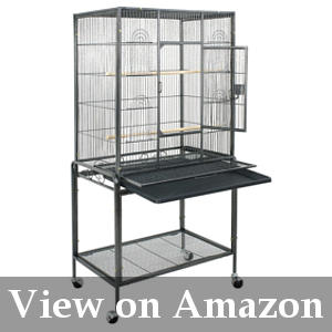 roomy bird cage with solid metal stand